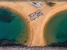 Aerial drone picture from small village Sant Antoni de Calonge from Spain, in Costa Brava stock image