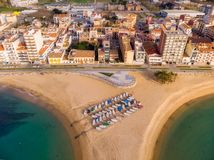 Aerial drone picture from small village Sant Antoni de Calonge from Spain, in Costa Brava royalty free stock photography