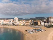 Aerial drone picture from small village Sant Antoni de Calonge from Spain, in Costa Brava royalty free stock image