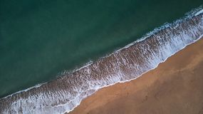 Aerial drone picture from Spanish beach in Costa Brava. Near the small town Palamos royalty free stock photography