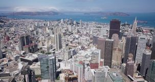 Aerial Drone Of The San Francisco City Skyline And golden gate bridge