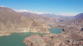 Aerial drone shoot view of the Pamir, Afghanistan and Panj River Along the Wakhan Corridor. The Afghanistan-tajikistan Border stock footage