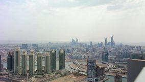 Aerial drone shot of Abu Dhabi city skyline and famous skyscrapers stock video