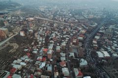 Drone shot of Armenia Yerevan stock photography