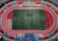 Aerial drone shot of city stadium royalty free stock photography