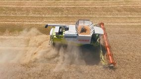 Aerial drone shot of a combine harvester working day in big a field. Harvesting. stock video footage