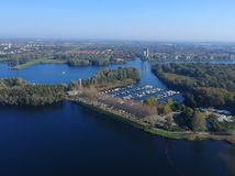 Harbor in Almere. Aerial drone shot of a harbor in the city of Almere royalty free stock images