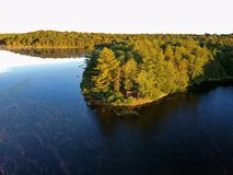 Aerial drone shot of lean to Campsite and campfire in the Adirondack Mountains stock photography