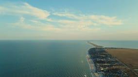 Aerial drone shot narrow long island in Azov sea with long sandy beaches