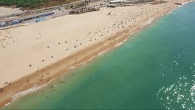 Aerial Drone shot over beach Cascais Portugal stock video