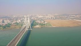Aerial Drone shot over bridge Portugal. NPonte Vasco da Gama stock video