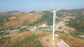Aerial Drone shot over Wind Turbine stock video footage