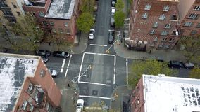 Aerial drone shot of Williamsburg district, New York City. Streets and crossroads. NYC, USA.