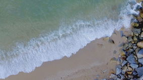 Aerial drone slow motion footage of ocean waves stock footage