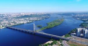 Aerial drone of the south bridge, the city of Kiev. Ukraine. Dnieper river, the bridge crosses the river. stock video footage