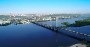 Aerial drone of the south bridge, the city of Kiev. Ukraine. Dnieper river, the bridge crosses the river. stock video