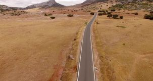 Aerial. Drone Starts from Mountain Road. In Andalucia stock footage