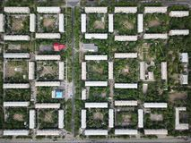 Aerial drone top down shot of downtown with houses and square courtyards. Magnitogorsk, Russia.  stock photos