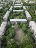Aerial drone top down shot of downtown with houses and square courtyards. Magnitogorsk, Russia stock images
