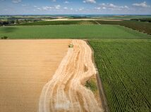 Free Aerial Drone Top View Big Powerful Industrial Combine Harvester Machine Reaping Golden Ripe Wheat Cereal Field On Bright Royalty Free Stock Photography - 208503417