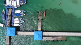 Aerial drone top view photo of pier on Rawai beach in Phuket royalty free stock photography