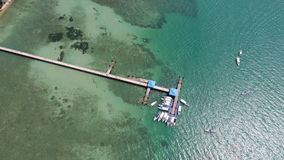 Aerial drone top view photo of pier on Rawai beach in Phuket stock photos