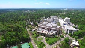 Aerial drone tour hospital stock footage