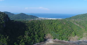 Aerial drone video back view of Loh Lana Bay, part of iconic tropical Phi Phi island stock video