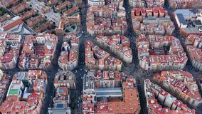 Aerial drone video of Barcelona Spain. Streets of Expansion District. hospital de sant pau. Video footage. Car traffic stock footage