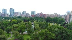 Aerial drone video Boston Common stock video