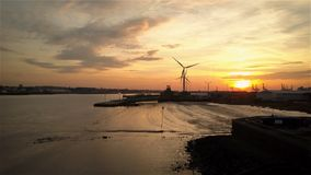 Tilbury Docks at sunset; Essex, England stock video footage