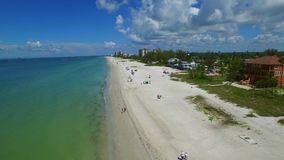 Aerial drone video Fort Myers Beach FL 3 stock video footage