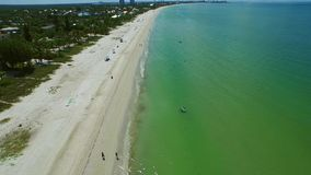 Aerial drone video Fort Myers Beach FL 3 stock footage