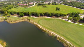 Aerial drone video golf course Royalty Free Stock Images