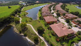 Aerial drone video golf course Royalty Free Stock Photo