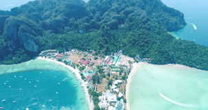 Aerial drone video of iconic tropical beach and resorts of Phi Phi island. Thailand stock video