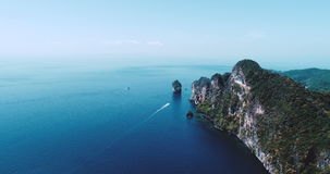 Aerial drone video of iconic tropical beach and resorts of Phi Phi island stock video footage