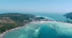 Aerial drone video of iconic tropical beach and resorts of Phi Phi island stock video