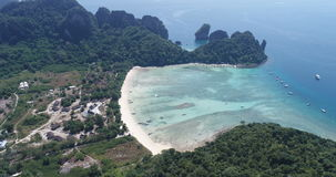 Aerial drone video of Loh Lana Bay beach, part of iconic tropical Phi Phi island stock video footage