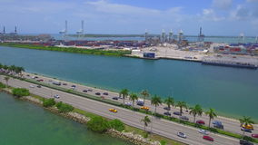 Aerial drone video Macarthur causeway stock video