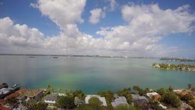 Aerial drone video Miami Beach homes stock video