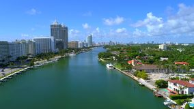 Aerial drone video Miami Beach Indian Creek. Drone shot of Indian Creek Florida stock video footage