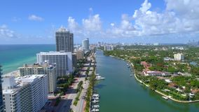 Aerial drone video Miami Beach Indian Creek. Drone shot of Indian Creek Florida stock footage