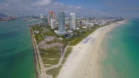 Aerial drone video Miami Beach 4k. 4k uhd aerial video Miami Beach south of 5th street and the ocean stock video