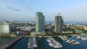 Aerial drone video of the Miami Beach marina stock footage