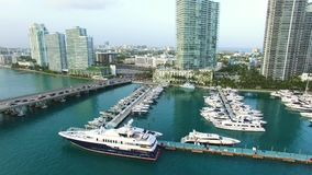 Aerial drone video of the Miami Beach marina stock video footage