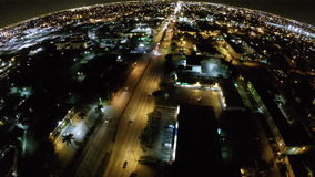 Aerial drone video night shopping center Royalty Free Stock Image