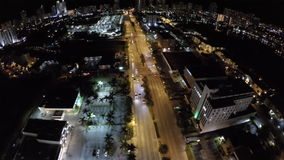 Aerial drone video night shopping center stock video footage