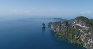 Aerial drone video of nothern east part of iconic tropical Phi Phi island stock footage