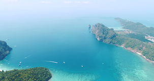 Aerial drone video of sea and coastline from iconic tropical beach of Phi Phi island stock video footage